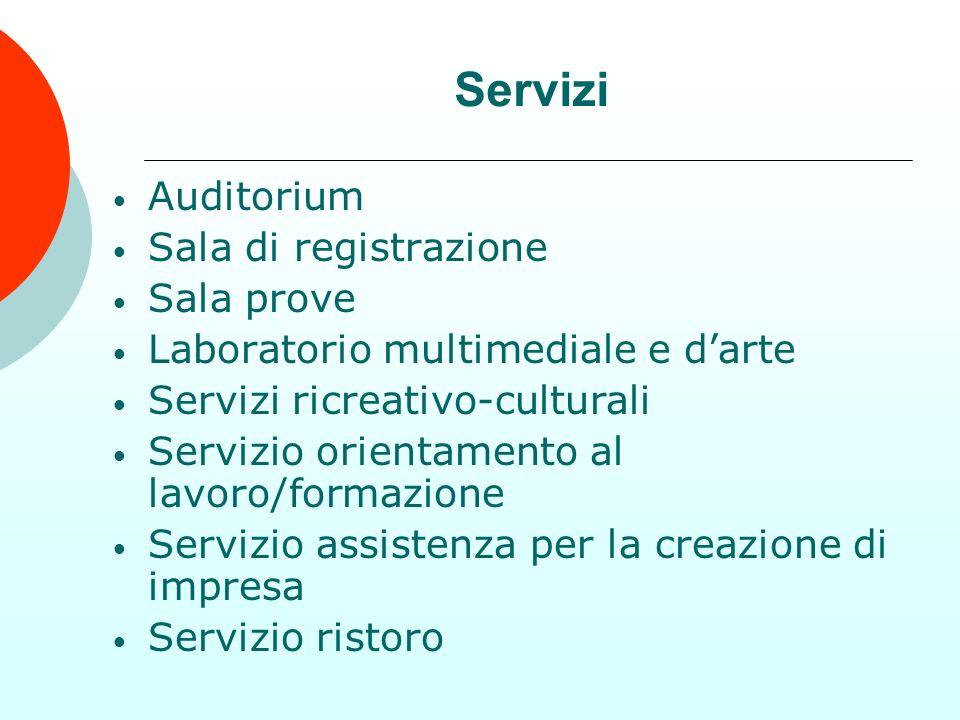 Auditorium Sala di registrazione Sala prove Laboratorio multimediale e darte Servizi ricreativo-culturali Servizio orientamento al lavoro/formazione S