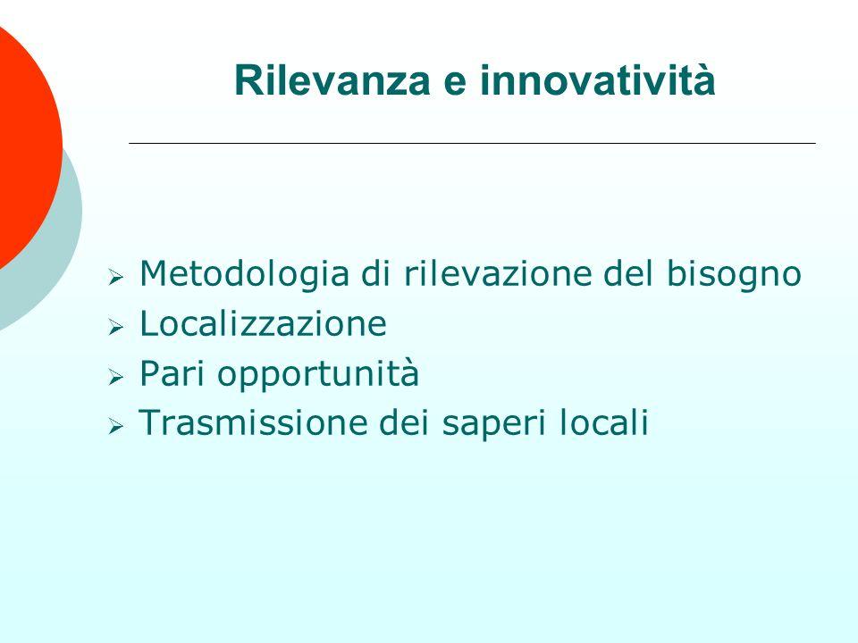 Metodologia di rilevazione del bisogno Localizzazione Pari opportunità Trasmissione dei saperi locali Rilevanza e innovatività