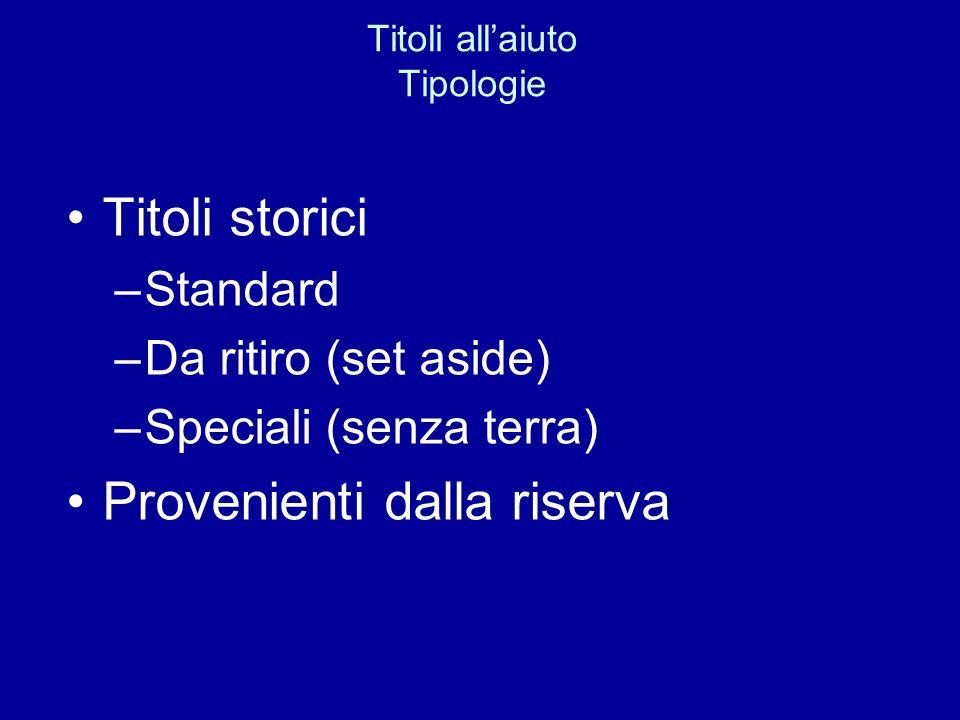 Titoli allaiuto Tipologie Titoli storici –Standard –Da ritiro (set aside) –Speciali (senza terra) Provenienti dalla riserva