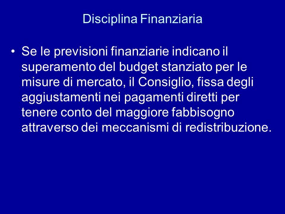 Disciplina Finanziaria Se le previsioni finanziarie indicano il superamento del budget stanziato per le misure di mercato, il Consiglio, fissa degli a