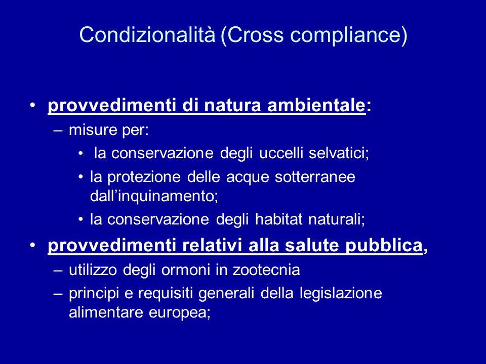 Condizionalità (Cross compliance) provvedimenti di natura ambientale: –misure per: la conservazione degli uccelli selvatici; la protezione delle acque