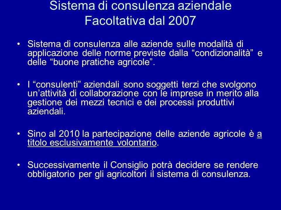 Sistema di consulenza aziendale Facoltativa dal 2007 Sistema di consulenza alle aziende sulle modalità di applicazione delle norme previste dalla cond
