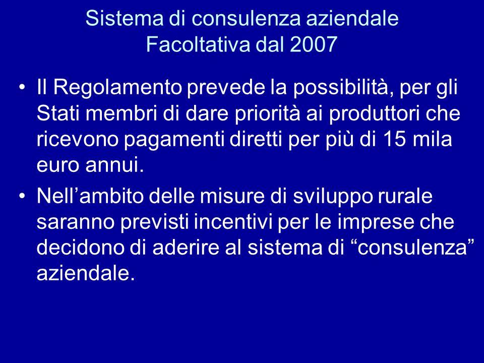 Sistema di consulenza aziendale Facoltativa dal 2007 Il Regolamento prevede la possibilità, per gli Stati membri di dare priorità ai produttori che ri