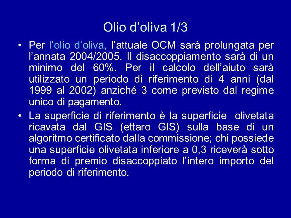 Olio doliva 1/3 Per lolio doliva, lattuale OCM sarà prolungata per lannata 2004/2005. Il disaccoppiamento sarà di un minimo del 60%. Per il calcolo de