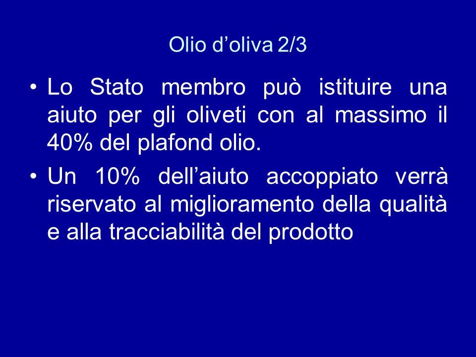Olio doliva 2/3 Lo Stato membro può istituire una aiuto per gli oliveti con al massimo il 40% del plafond olio. Un 10% dellaiuto accoppiato verrà rise