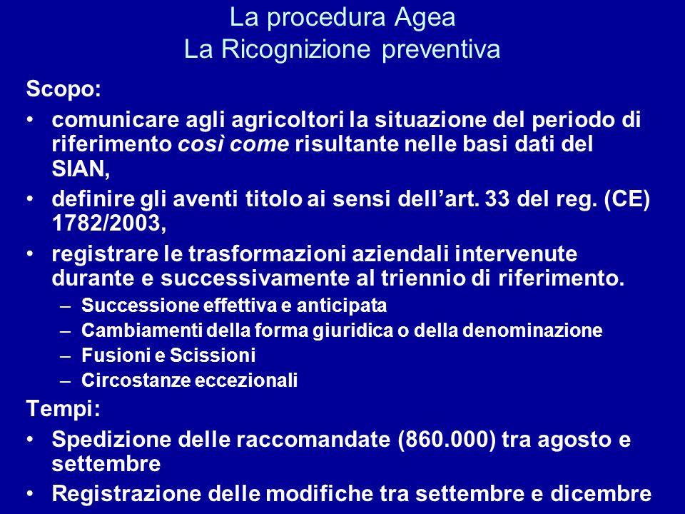La procedura Agea La Ricognizione preventiva Scopo: comunicare agli agricoltori la situazione del periodo di riferimento così come risultante nelle ba