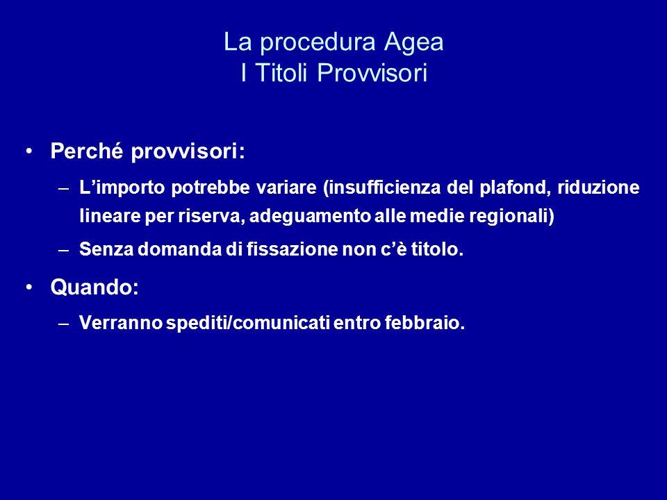 La procedura Agea I Titoli Provvisori Perché provvisori: –Limporto potrebbe variare (insufficienza del plafond, riduzione lineare per riserva, adeguam