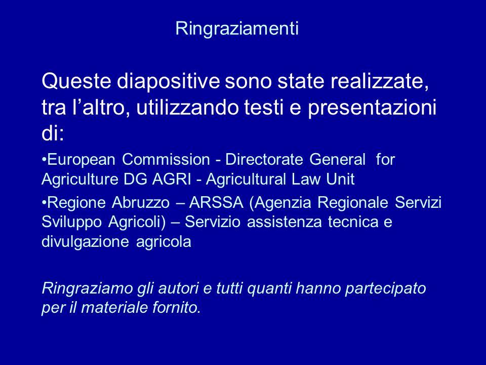 Queste diapositive sono state realizzate, tra laltro, utilizzando testi e presentazioni di: European Commission - Directorate General for Agriculture
