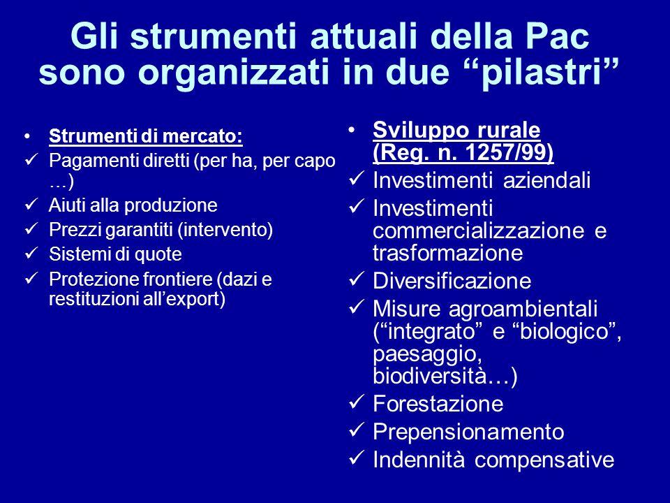 Gli strumenti attuali della Pac sono organizzati in due pilastri Strumenti di mercato: Pagamenti diretti (per ha, per capo …) Aiuti alla produzione Pr