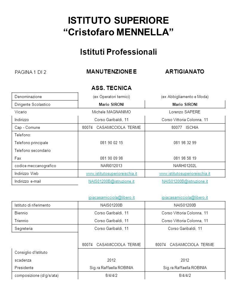 ISTITUTO SUPERIORE Cristofaro MENNELLA Istituti Professionali PAGINA 1 DI 2 MANUTENZIONE EARTIGIANATO ASS. TECNICA Denominazione(ex Operatori termici)