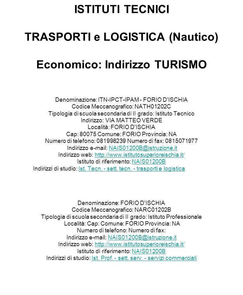 ISTITUTI TECNICI TRASPORTI e LOGISTICA (Nautico) Economico: Indirizzo TURISMO Denominazione: ITN-IPCT-IPAM - FORIO D'ISCHIA Codice Meccanografico: NAT