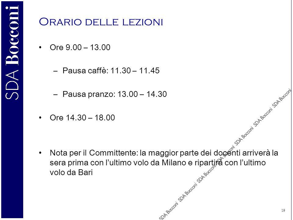 19 Orario delle lezioni Ore 9.00 – 13.00 –Pausa caffè: 11.30 – 11.45 –Pausa pranzo: 13.00 – 14.30 Ore 14.30 – 18.00 Nota per il Committente: la maggior parte dei docenti arriverà la sera prima con lultimo volo da Milano e ripartirà con lultimo volo da Bari