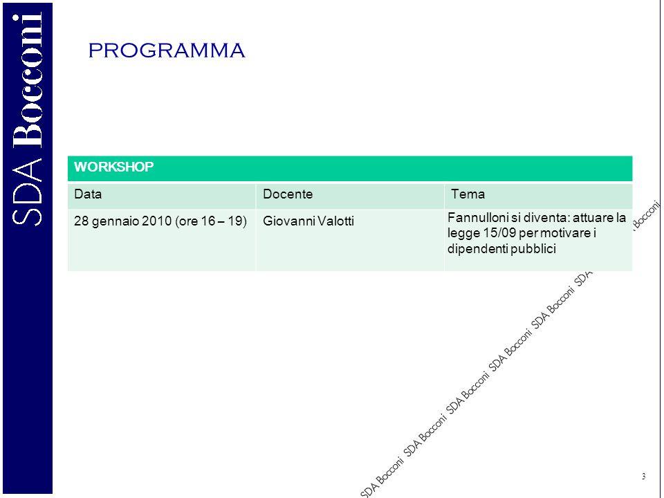 3 programma WORKSHOP DataDocenteTema 28 gennaio 2010 (ore 16 – 19)Giovanni Valotti Fannulloni si diventa: attuare la legge 15/09 per motivare i dipendenti pubblici