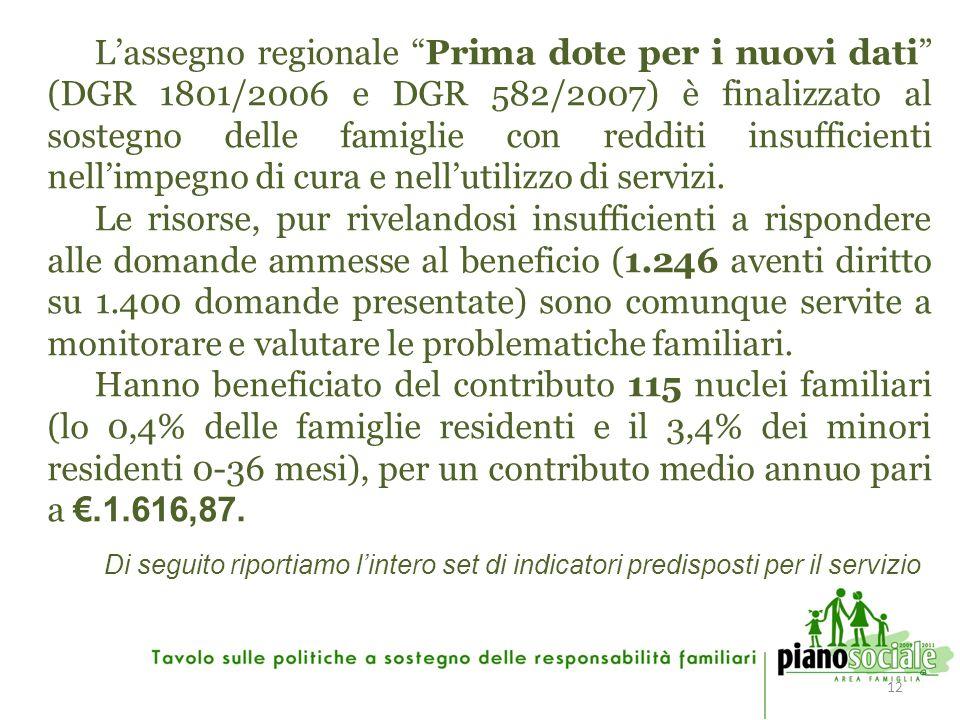 12 Lassegno regionale Prima dote per i nuovi dati (DGR 1801/2006 e DGR 582/2007) è finalizzato al sostegno delle famiglie con redditi insufficienti nellimpegno di cura e nellutilizzo di servizi.