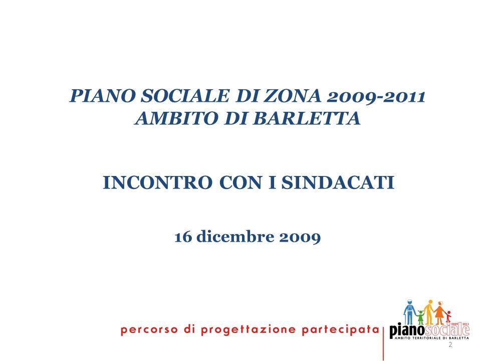 2 PIANO SOCIALE DI ZONA 2009-2011 AMBITO DI BARLETTA INCONTRO CON I SINDACATI 16 dicembre 2009