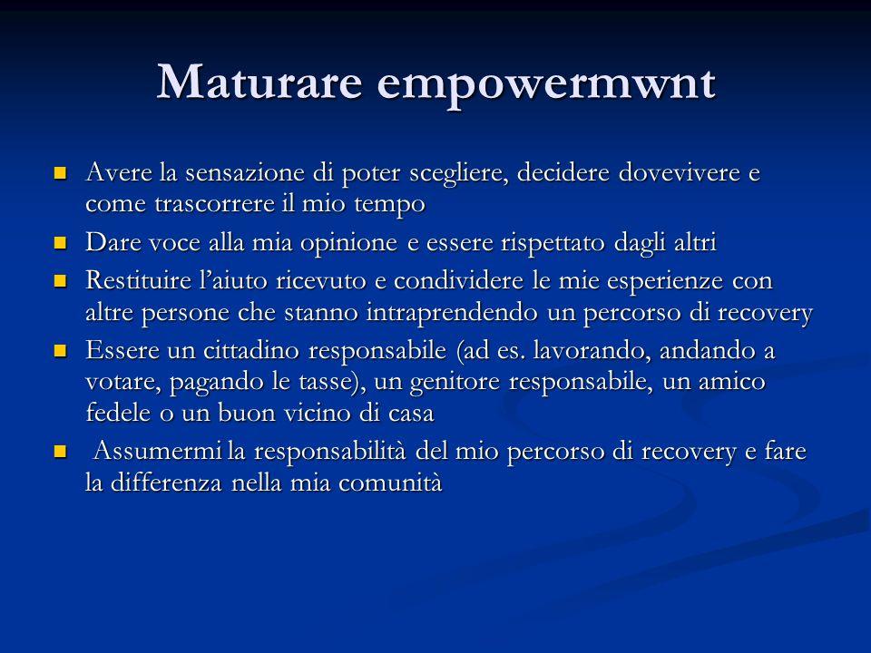 Maturare empowermwnt Avere la sensazione di poter scegliere, decidere dovevivere e come trascorrere il mio tempo Avere la sensazione di poter sceglier