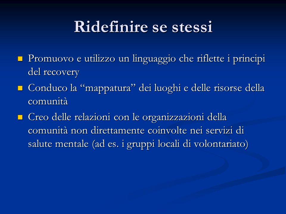 Ridefinire se stessi Promuovo e utilizzo un linguaggio che riflette i principi del recovery Promuovo e utilizzo un linguaggio che riflette i principi