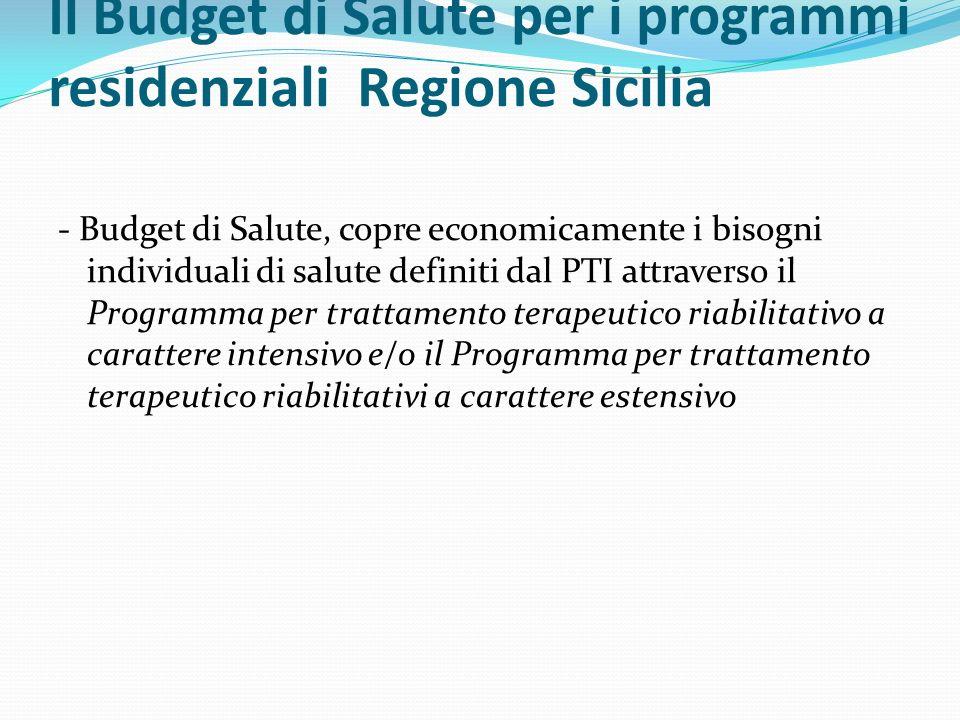 Il Budget di Salute per i programmi residenziali Regione Sicilia - Budget di Salute, copre economicamente i bisogni individuali di salute definiti dal
