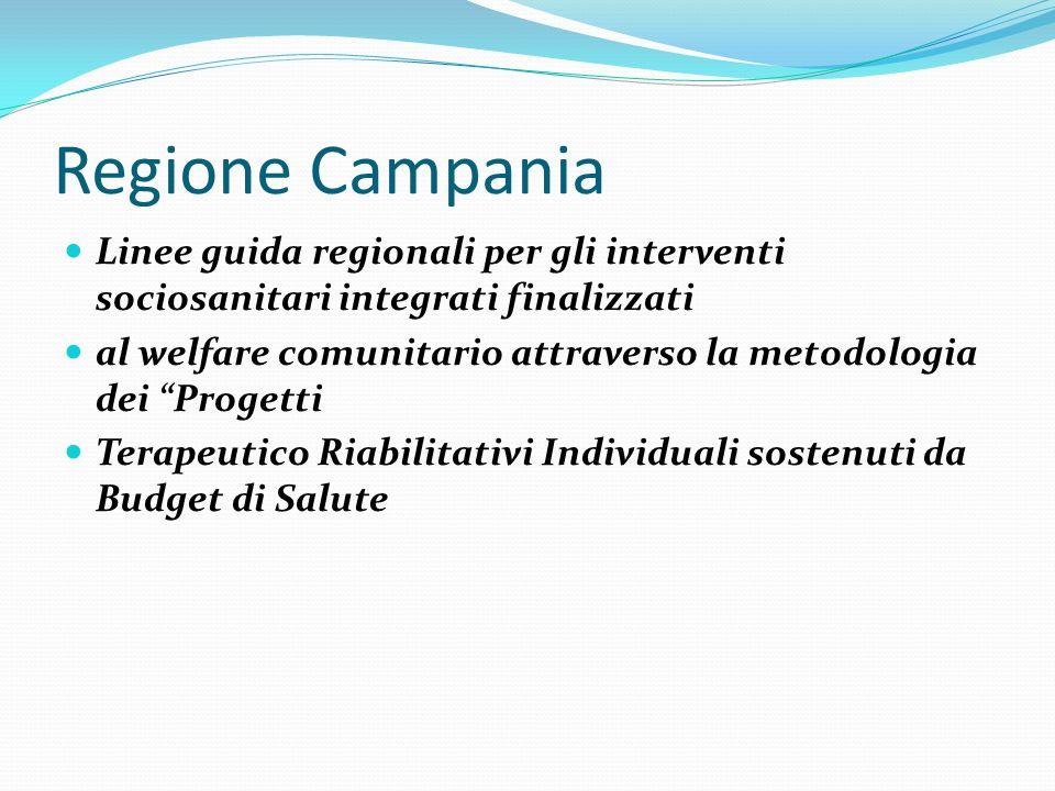 Regione Campania Linee guida regionali per gli interventi sociosanitari integrati finalizzati al welfare comunitario attraverso la metodologia dei Pro
