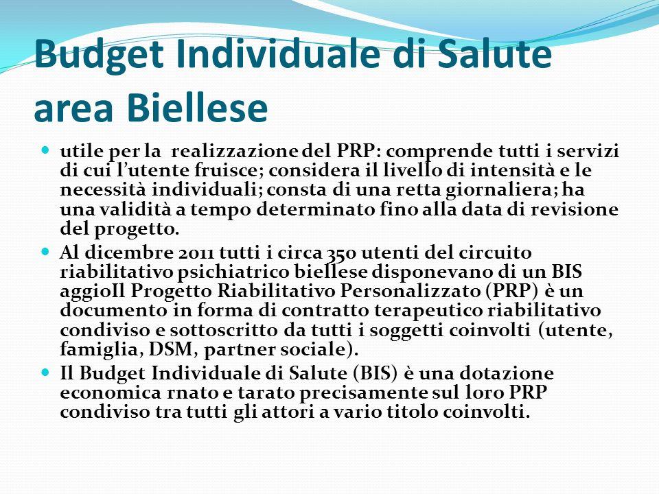 Budget Individuale di Salute area Biellese utile per la realizzazione del PRP: comprende tutti i servizi di cui lutente fruisce; considera il livello