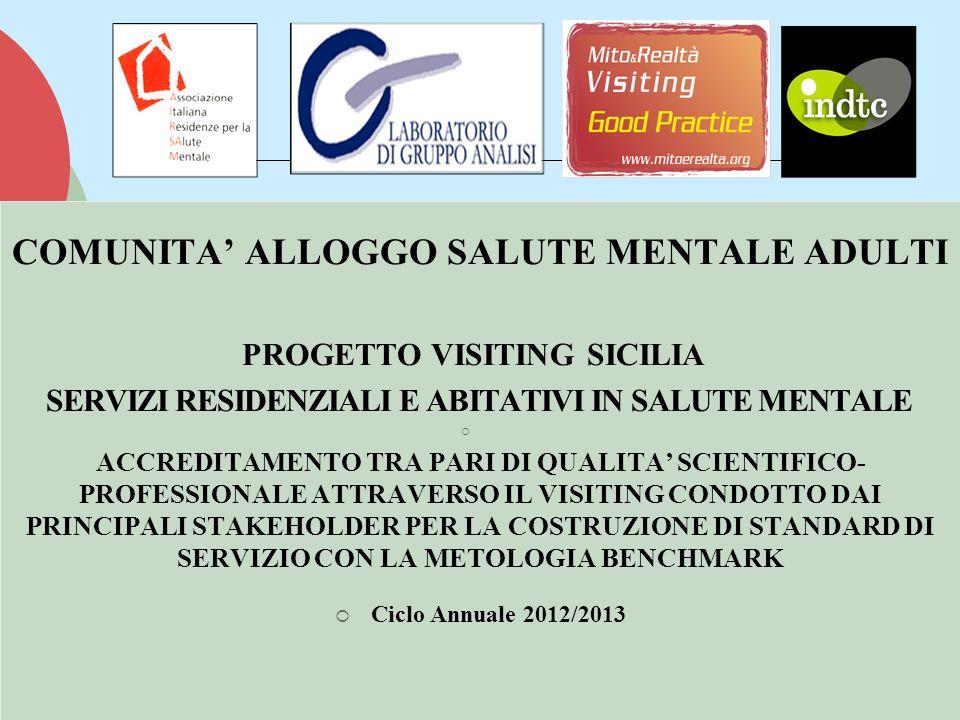 COMUNITA ALLOGGO SALUTE MENTALE ADULTI PROGETTO VISITING SICILIA SERVIZI RESIDENZIALI E ABITATIVI IN SALUTE MENTALE ACCREDITAMENTO TRA PARI DI QUALITA SCIENTIFICO- PROFESSIONALE ATTRAVERSO IL VISITING CONDOTTO DAI PRINCIPALI STAKEHOLDER PER LA COSTRUZIONE DI STANDARD DI SERVIZIO CON LA METOLOGIA BENCHMARK Ciclo Annuale 2012/2013 COMUNITA ALLOGGO SALUTE MENTALE ADULTI PROGETTO VISITING SICILIA SERVIZI RESIDENZIALI E ABITATIVI IN SALUTE MENTALE ACCREDITAMENTO TRA PARI DI QUALITA SCIENTIFICO- PROFESSIONALE ATTRAVERSO IL VISITING CONDOTTO DAI PRINCIPALI STAKEHOLDER PER LA COSTRUZIONE DI STANDARD DI SERVIZIO CON LA METOLOGIA BENCHMARK Ciclo Annuale 2012/2013
