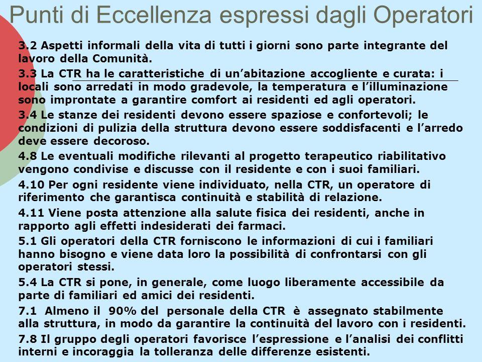 Punti di Eccellenza espressi dagli Operatori 3.2 Aspetti informali della vita di tutti i giorni sono parte integrante del lavoro della Comunità. 3.3 L
