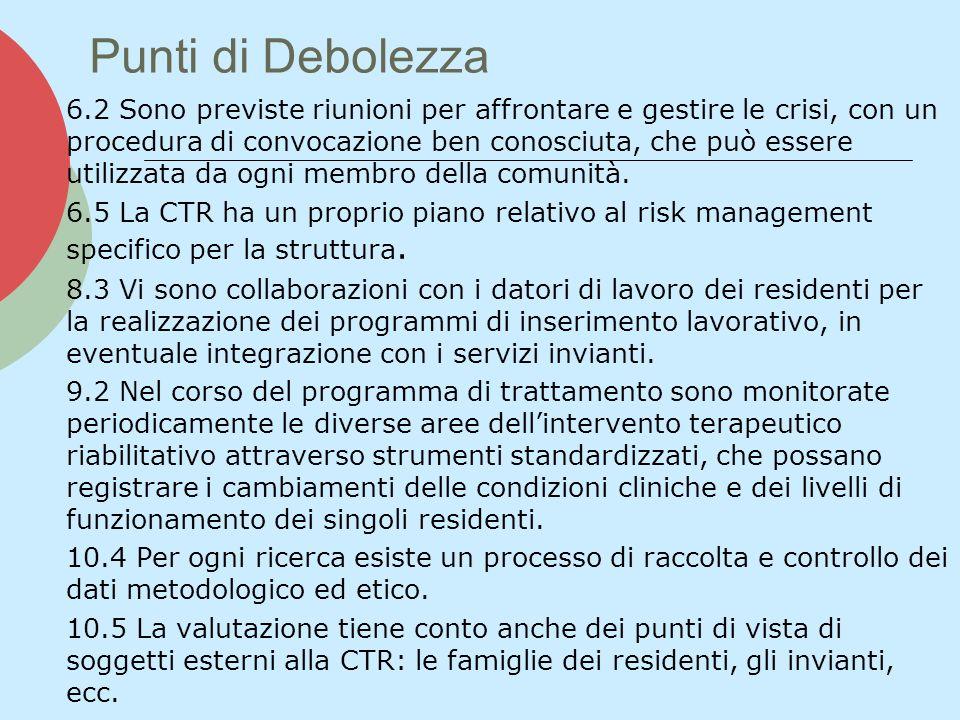 Punti di Debolezza 6.2 Sono previste riunioni per affrontare e gestire le crisi, con un procedura di convocazione ben conosciuta, che può essere utili