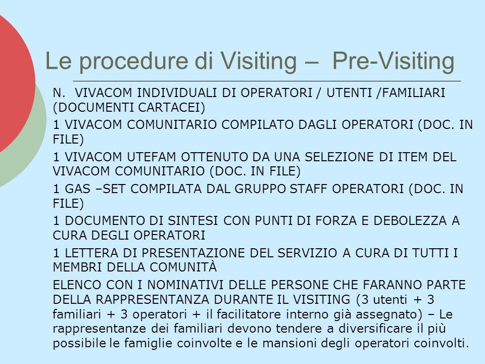 Le procedure di Visiting – Pre-Visiting N. VIVACOM INDIVIDUALI DI OPERATORI / UTENTI /FAMILIARI (DOCUMENTI CARTACEI) 1 VIVACOM COMUNITARIO COMPILATO D