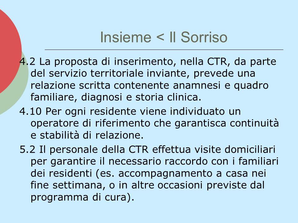Insieme < Il Sorriso 4.2 La proposta di inserimento, nella CTR, da parte del servizio territoriale inviante, prevede una relazione scritta contenente