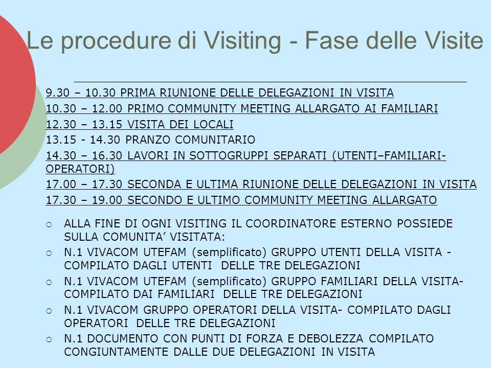 Le procedure di Visiting - Fase delle Visite 9.30 – 10.30 PRIMA RIUNIONE DELLE DELEGAZIONI IN VISITA 10.30 – 12.00 PRIMO COMMUNITY MEETING ALLARGATO AI FAMILIARI 12.30 – 13.15 VISITA DEI LOCALI 13.15 - 14.30 PRANZO COMUNITARIO 14.30 – 16.30 LAVORI IN SOTTOGRUPPI SEPARATI (UTENTI–FAMILIARI- OPERATORI) 17.00 – 17.30 SECONDA E ULTIMA RIUNIONE DELLE DELEGAZIONI IN VISITA 17.30 – 19.00 SECONDO E ULTIMO COMMUNITY MEETING ALLARGATO ALLA FINE DI OGNI VISITING IL COORDINATORE ESTERNO POSSIEDE SULLA COMUNITA VISITATA: N.1 VIVACOM UTEFAM (semplificato) GRUPPO UTENTI DELLA VISITA - COMPILATO DAGLI UTENTI DELLE TRE DELEGAZIONI N.1 VIVACOM UTEFAM (semplificato) GRUPPO FAMILIARI DELLA VISITA- COMPILATO DAI FAMILIARI DELLE TRE DELEGAZIONI N.1 VIVACOM GRUPPO OPERATORI DELLA VISITA- COMPILATO DAGLI OPERATORI DELLE TRE DELEGAZIONI N.1 DOCUMENTO CON PUNTI DI FORZA E DEBOLEZZA COMPILATO CONGIUNTAMENTE DALLE DUE DELEGAZIONI IN VISITA