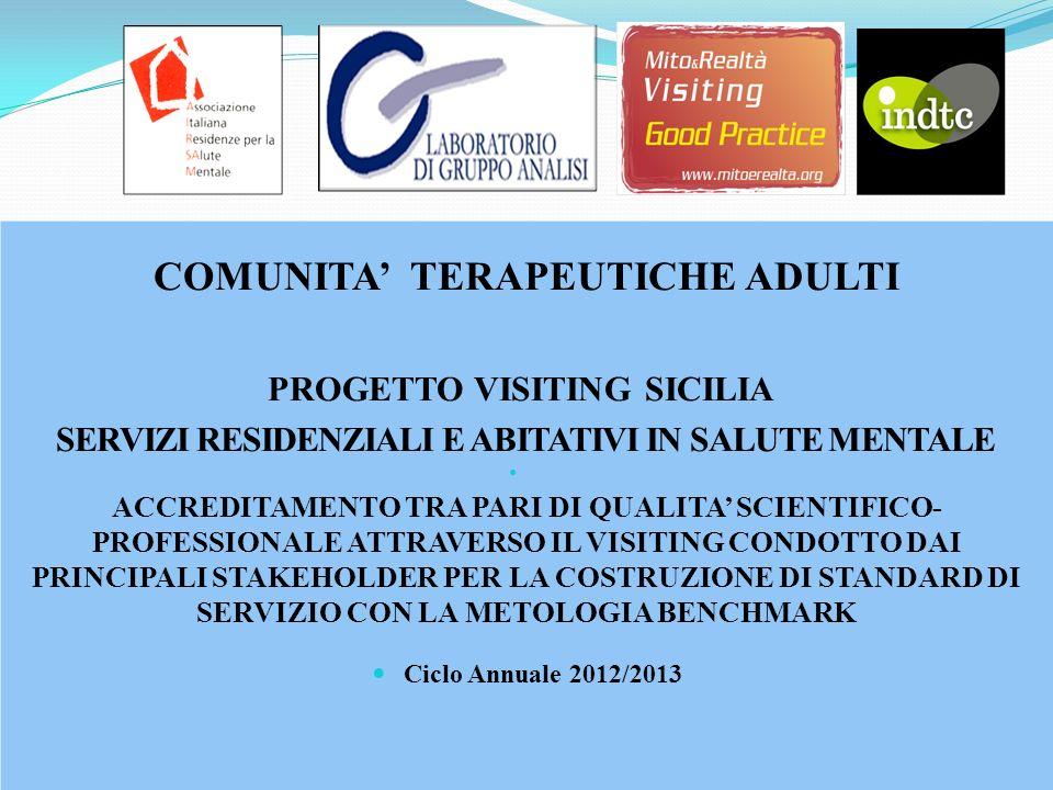 COMUNITA TERAPEUTICHE ADULTI PROGETTO VISITING SICILIA SERVIZI RESIDENZIALI E ABITATIVI IN SALUTE MENTALE ACCREDITAMENTO TRA PARI DI QUALITA SCIENTIFI