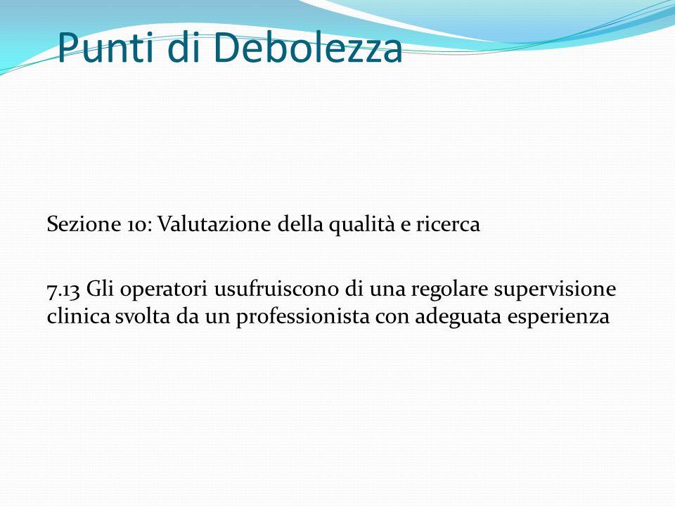 Punti di Debolezza Sezione 10: Valutazione della qualità e ricerca 7.13 Gli operatori usufruiscono di una regolare supervisione clinica svolta da un p