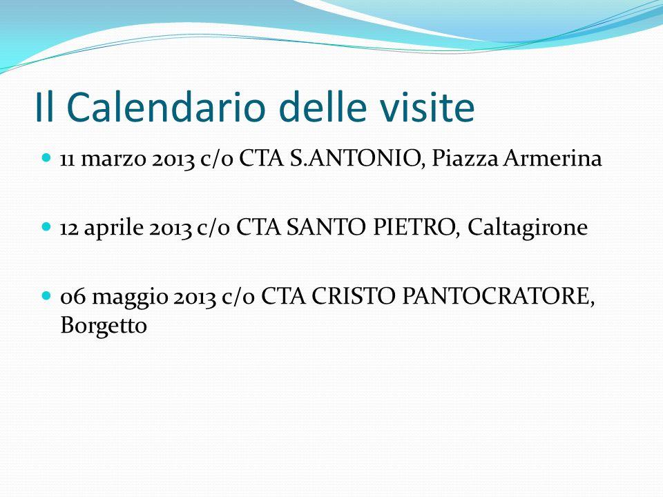 Il Calendario delle visite 11 marzo 2013 c/o CTA S.ANTONIO, Piazza Armerina 12 aprile 2013 c/o CTA SANTO PIETRO, Caltagirone 06 maggio 2013 c/o CTA CR