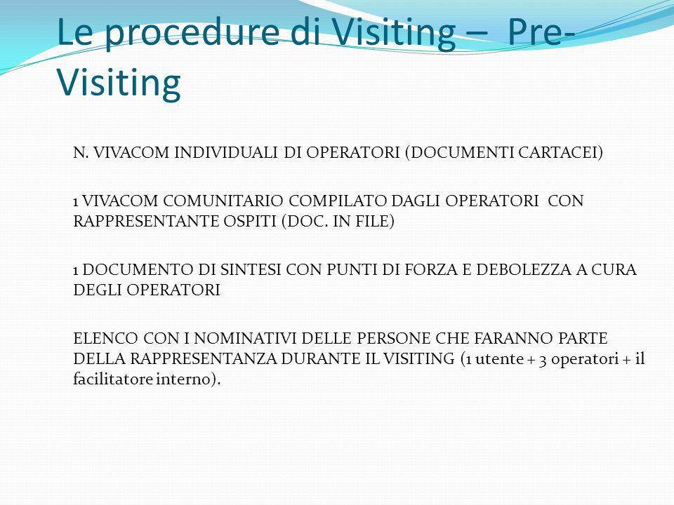 Le procedure di Visiting – Pre- Visiting N. VIVACOM INDIVIDUALI DI OPERATORI (DOCUMENTI CARTACEI) 1 VIVACOM COMUNITARIO COMPILATO DAGLI OPERATORI CON