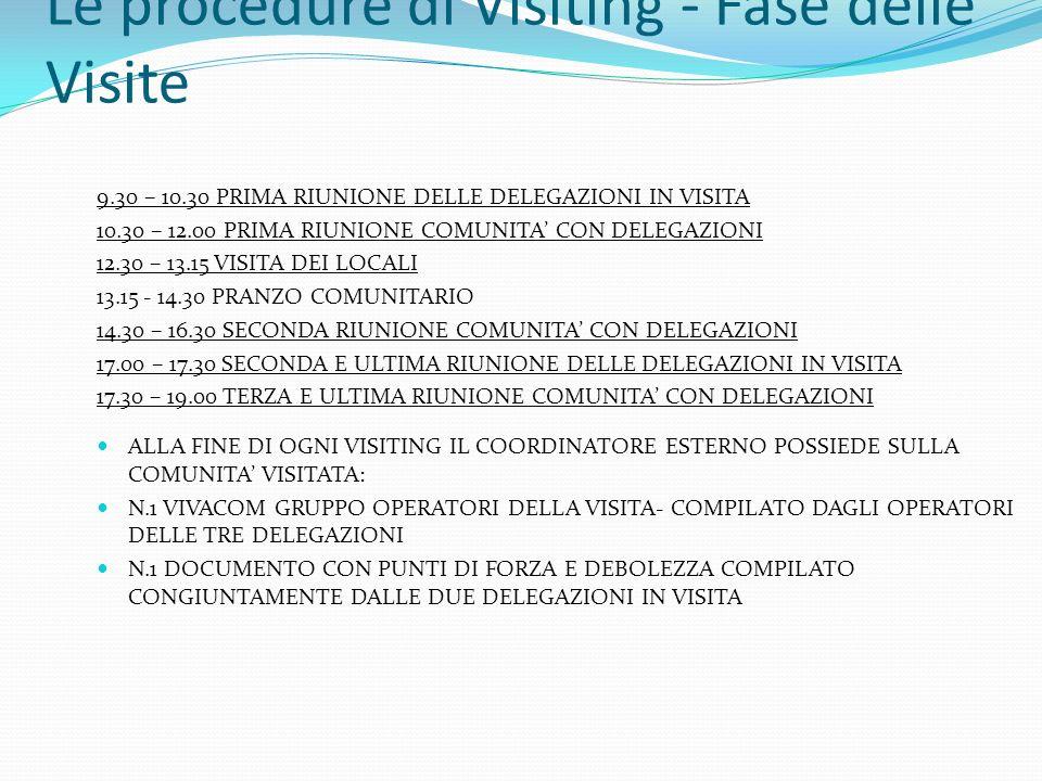 Le procedure di Visiting - Fase delle Visite 9.30 – 10.30 PRIMA RIUNIONE DELLE DELEGAZIONI IN VISITA 10.30 – 12.00 PRIMA RIUNIONE COMUNITA CON DELEGAZ