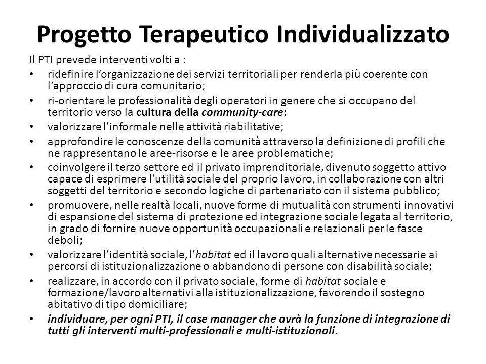 Progetto Terapeutico Individualizzato Il PTI prevede interventi volti a : ridefinire lorganizzazione dei servizi territoriali per renderla più coerent
