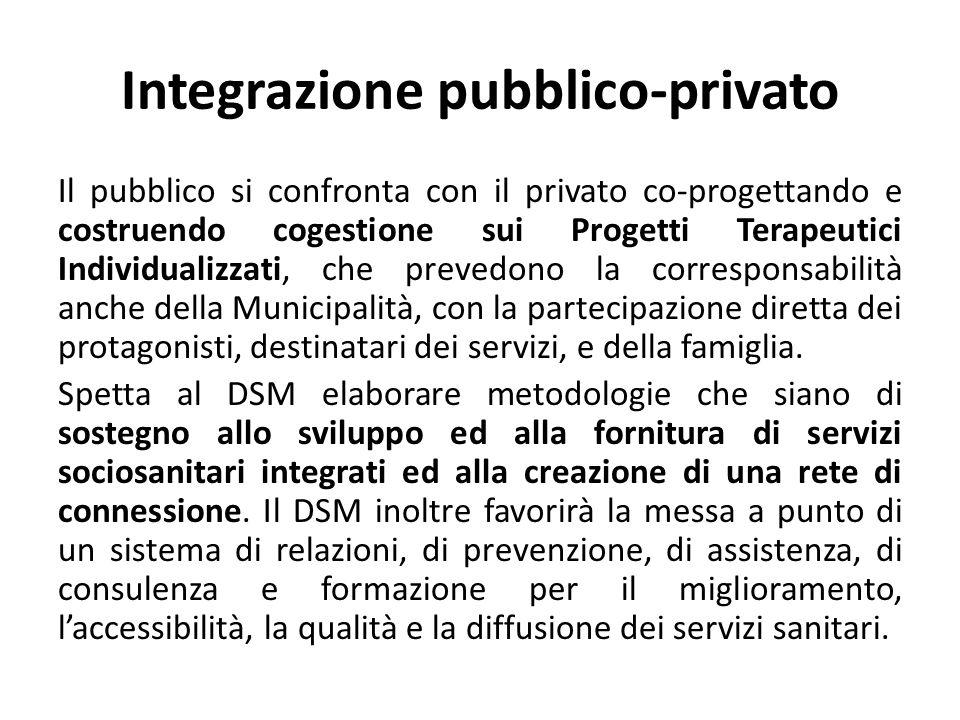 Integrazione pubblico-privato Il pubblico si confronta con il privato co-progettando e costruendo cogestione sui Progetti Terapeutici Individualizzati