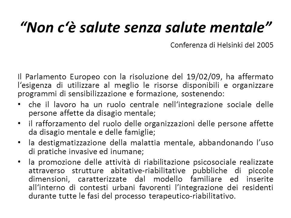 Non cè salute senza salute mentale Conferenza di Helsinki del 2005 Il Parlamento Europeo con la risoluzione del 19/02/09, ha affermato lesigenza di ut