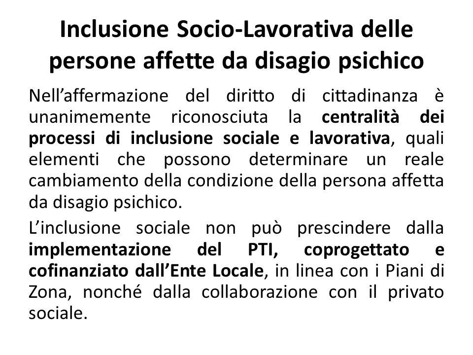 Inclusione Socio-Lavorativa delle persone affette da disagio psichico Nellaffermazione del diritto di cittadinanza è unanimemente riconosciuta la cent