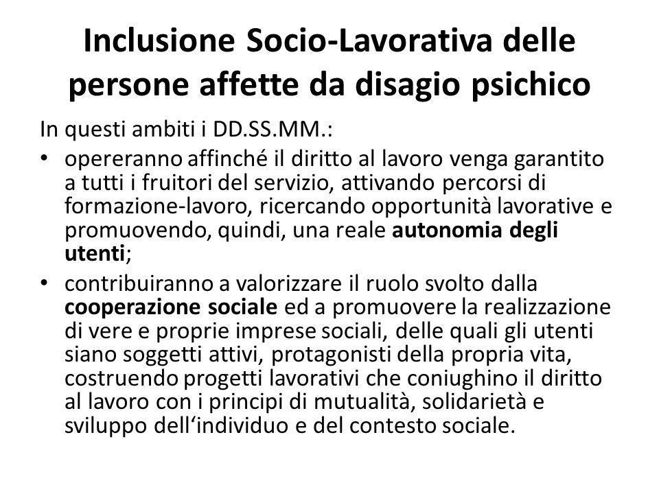 Inclusione Socio-Lavorativa delle persone affette da disagio psichico In questi ambiti i DD.SS.MM.: opereranno affinché il diritto al lavoro venga gar
