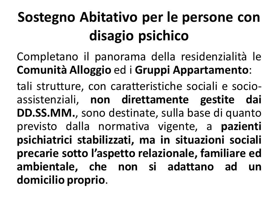 Sostegno Abitativo per le persone con disagio psichico Completano il panorama della residenzialità le Comunità Alloggio ed i Gruppi Appartamento: tali