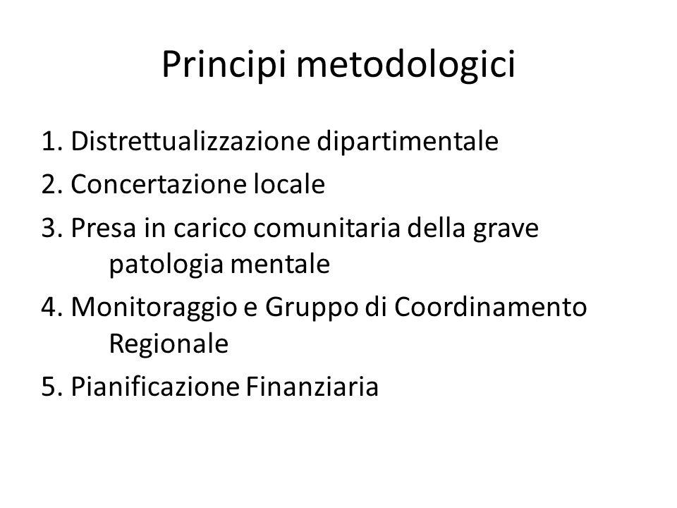 Principi metodologici 1. Distrettualizzazione dipartimentale 2. Concertazione locale 3. Presa in carico comunitaria della grave patologia mentale 4. M