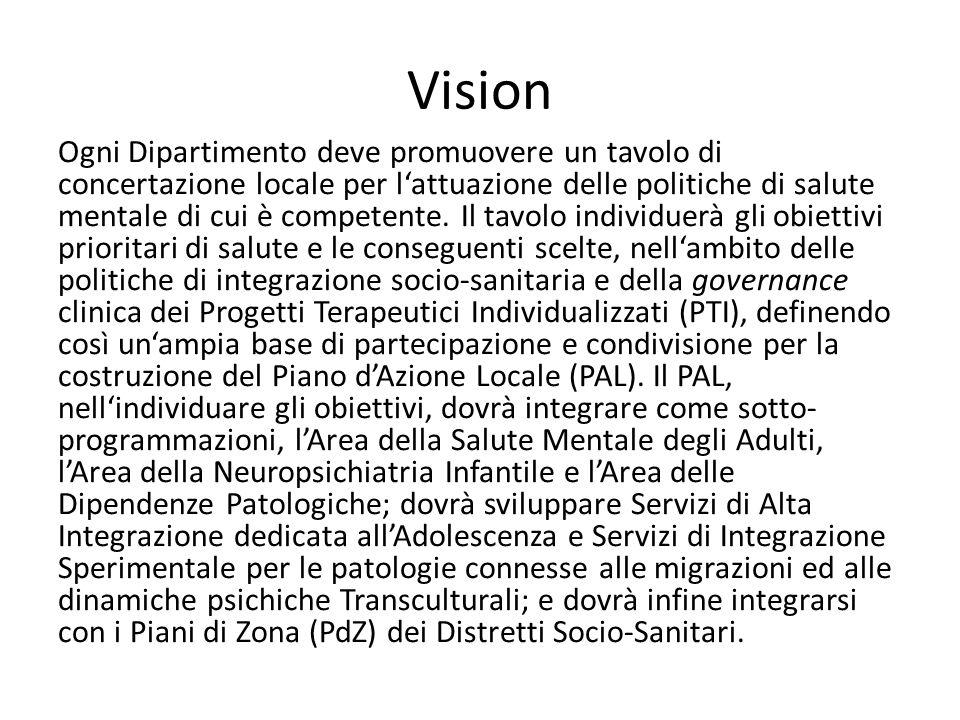Vision Ogni Dipartimento deve promuovere un tavolo di concertazione locale per lattuazione delle politiche di salute mentale di cui è competente. Il t