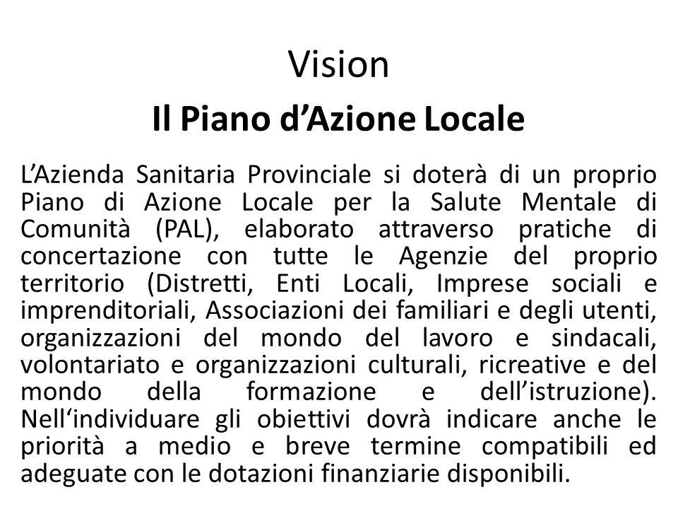 Vision Il Piano dAzione Locale LAzienda Sanitaria Provinciale si doterà di un proprio Piano di Azione Locale per la Salute Mentale di Comunità (PAL),