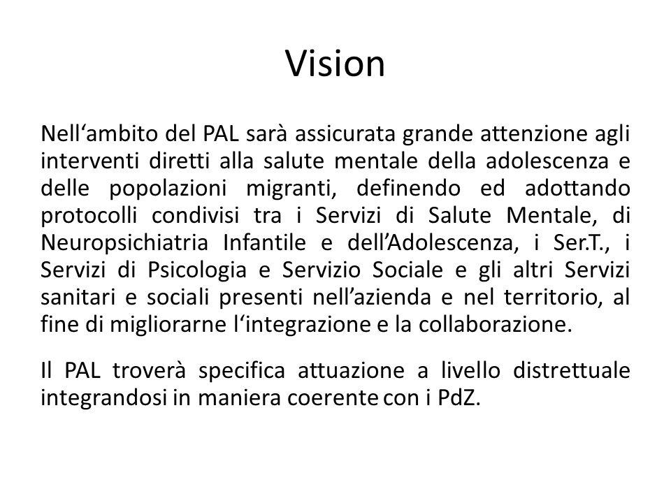 Vision Nellambito del PAL sarà assicurata grande attenzione agli interventi diretti alla salute mentale della adolescenza e delle popolazioni migranti