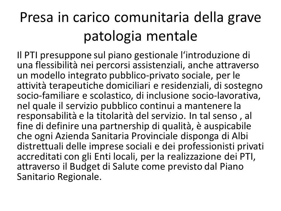 Presa in carico comunitaria della grave patologia mentale Il PTI presuppone sul piano gestionale lintroduzione di una flessibilità nei percorsi assist