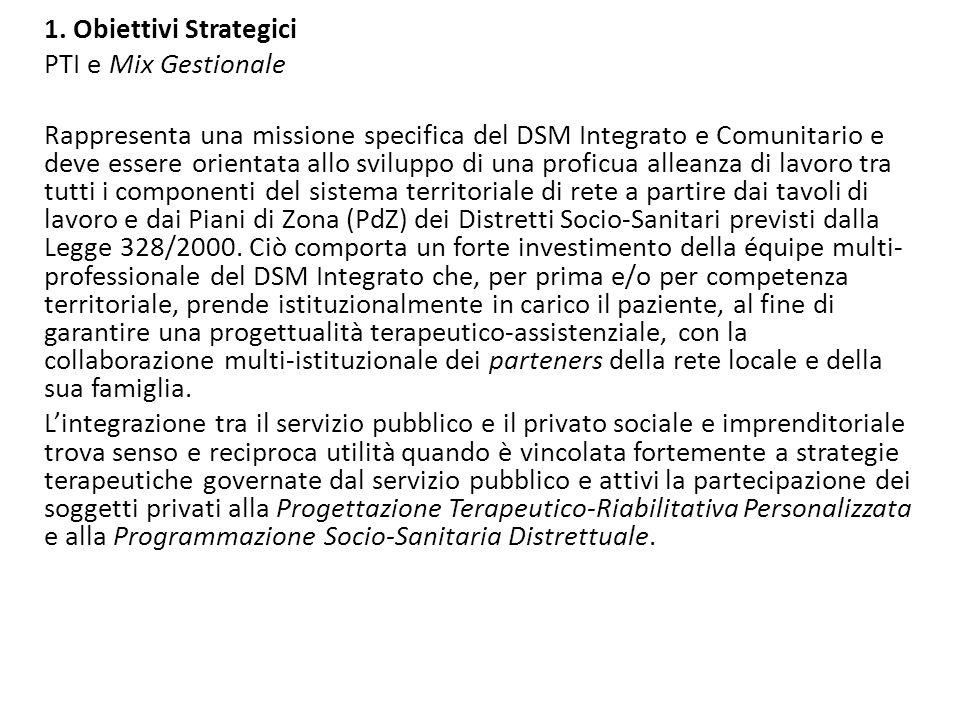 1. Obiettivi Strategici PTI e Mix Gestionale Rappresenta una missione specifica del DSM Integrato e Comunitario e deve essere orientata allo sviluppo