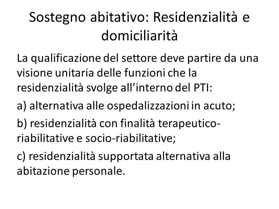 Sostegno abitativo: Residenzialità e domiciliarità La qualificazione del settore deve partire da una visione unitaria delle funzioni che la residenzia