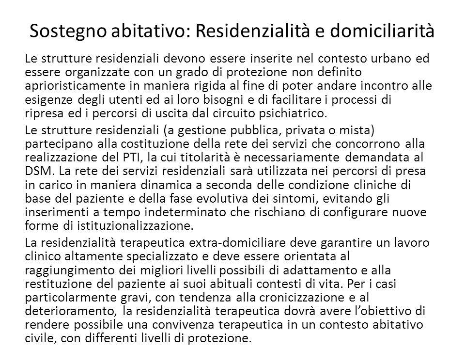 Sostegno abitativo: Residenzialità e domiciliarità Le strutture residenziali devono essere inserite nel contesto urbano ed essere organizzate con un g