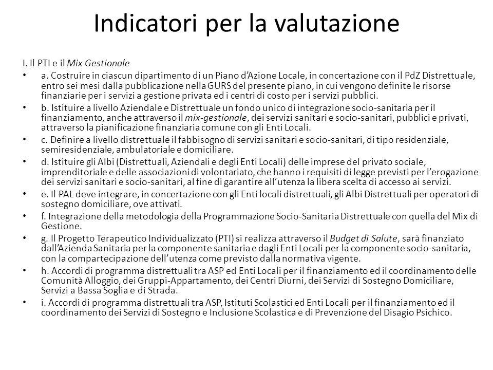 Indicatori per la valutazione I. Il PTI e il Mix Gestionale a. Costruire in ciascun dipartimento di un Piano dAzione Locale, in concertazione con il P